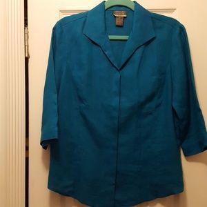 Lafayette 145 linen teal blouse